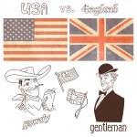 America versus Great Britain — Stock Vector