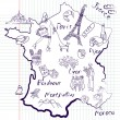 Stylized map of France - Stock Vector