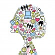 Woman head silhuette made with social media icons set. - Stock Vector