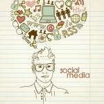 red social garabatos — Vector de stock