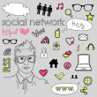 Social media network connection doodles — Vector de stock #10377686