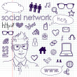 Social media network connection doodles — Vector de stock