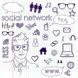 Social media network connection doodles — Stock Vector
