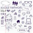 les médias sociaux de réseau connexion doodles — Vecteur