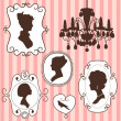 Vector de stock : Cute vintage frames with ladies silhouettes
