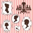 Cute vintage frames with ladies silhouettes - 图库矢量图片