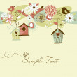 Beautiful Spring background with bird houses, birds and flowers — Stock Vector