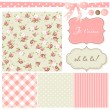 Wektor stockowy : Vintage Rose Pattern, frames and cute seamless