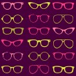 Trendy seamless pattern - different frames of spectacles — Stockvektor
