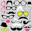 Stock Vector: Retro Party set - Sunglasses, lips, mustaches