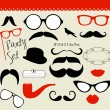 Retro Party set - Sunglasses, lips, mustaches — Image vectorielle