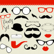 Retro Party set - Sunglasses, lips, mustaches — Vettoriali Stock