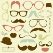 Retro Party set - Sunglasses, lips, mustaches — Stok Vektör