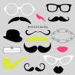 Retro Party set - Sunglasses, lips, mustaches — Stock Vector #10377761