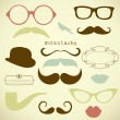 Retro Party set - Sunglasses, lips, mustaches — Stock Vector #10377763