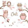 图库矢量图片: Owls, trendy card with owls sitting on the brunches