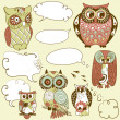 Collection of six different owls with speech bubbles — Stock Vector