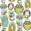 Seamless owl pattern. — Vector de stock #10377824