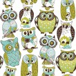 Stock Vector: Seamless owl pattern.