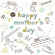 Stock Vector: Mother's day card in a style of a Child's drawing