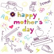 Mother's day card in a style of a Child's drawing - Imagens vectoriais em stock