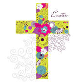 Beautiful cross made from flowers — Stock Vector
