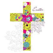 Mooie cross gemaakt van bloemen — Stockvector