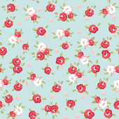 English Rose, Seamless wallpaper pattern with pink roses on blue background — Vecteur