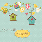 Beautiful Spring backgroun with bird houses, birds, eggs and flowers — 图库矢量图片