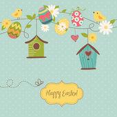 Prachtige lente pagina met bird huizen, vogels, eieren en bloemen — Stockvector