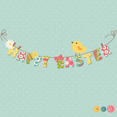 Cute Happy Easter card. — Stock Vector