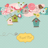 Beautiful Spring background with bird houses, birds and flowers — Stockvector