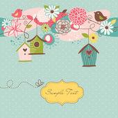 Casas de fondo hermosa primavera con aves, pájaros y flores — Vector de stock