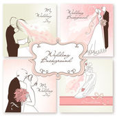 Set of beautiful vector Wedding Backgrounds — Stock Vector