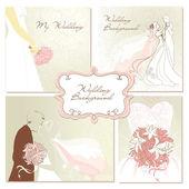 Set of beautiful vector Wedding Backgrounds — Stock Vector