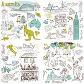 Italy, England, Australia, USA - four wonderful collections of hand drawn doodles — Stock Vector