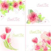 4 romantik çiçek arka pembe ve beyaz dizi — Stok Vektör