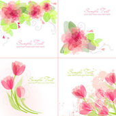 Conjunto de 4 fondos de flores romántico en rosa y blanco — Vector de stock