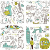 Italy, England, France, USA - four wonderful collections of hand drawn doodles — Stok Vektör