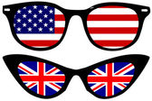 Cool Spectacles with American and British flags — Stock Vector