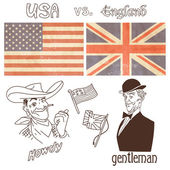 America versus Great Britain — Stock Vector