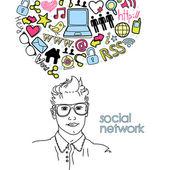 Social network doodles — Stock Vector