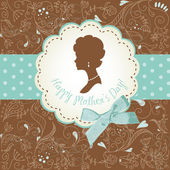Mother's day card. Cute vintage frames with ladies silhouettes — Stock Vector