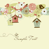 Beautiful Spring background with bird houses, birds and flowers — Stok Vektör