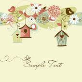 Prachtige lente achtergrond met bird huizen, vogels en bloemen — Stockvector