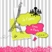 Cute scrapbook elements in French style — Stok Vektör