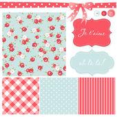 Vintage rosa patrón, marcos y lindo inconsútil — Vector de stock