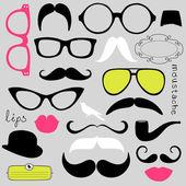 Partie retro set - lunettes de soleil, les lèvres, les moustaches — Vecteur