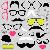 Retro Party set - Sunglasses, lips, mustaches — 图库矢量图片