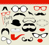Retro partij set - zonnebril, lippen, snorren — Stockvector